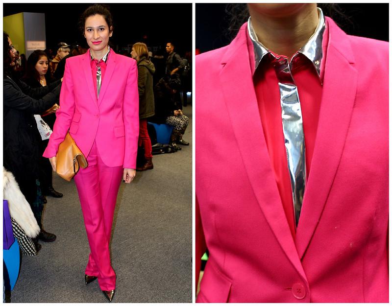 nyfw, pink pant suit, metallic tie