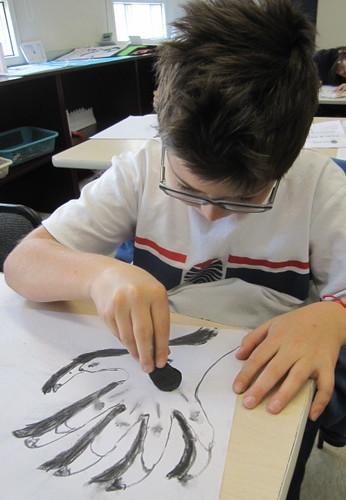 Drawing with wood charcoal, Yew Chung International School of Beijing 8