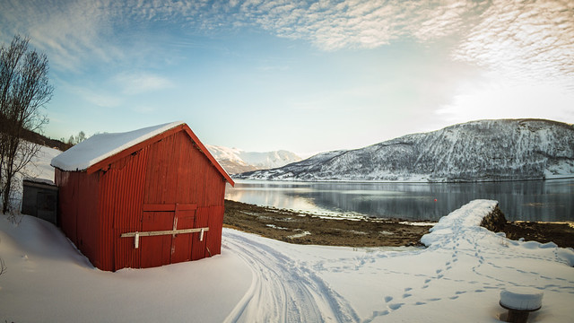 red, house, snow, mountains, norway