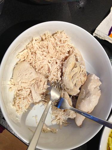 Peruvian Dinner - Shredding chicken for causa limena
