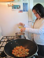 Sophia Making Egg Drop Soup