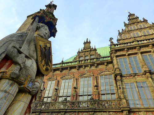 The Town Hall and the statue of Roland on the marketplace of Bremen (Unesco World heritage)