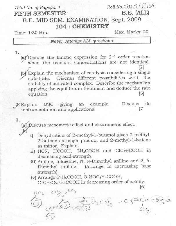 NSIT: Question Papers 2009 – 5 Semester - Mid Sem - All Branches-104