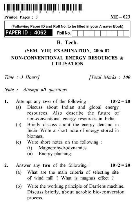 UPTU B.Tech Question Papers -ME-023 - Non-Conventional Energy Resources & Utilisation