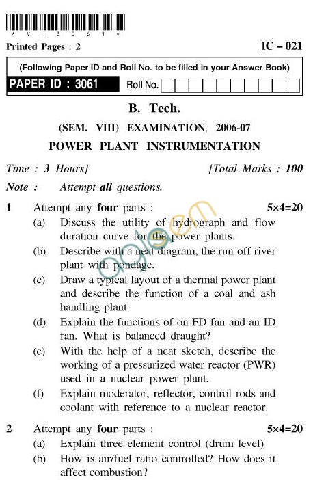 UPTU B.Tech Question Papers - IC-021-Power Plant Instrumentation