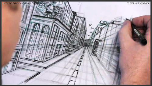 learn how to draw city buildings in perspective 033