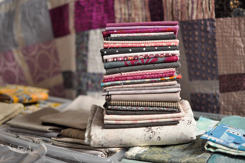 Feather Bed quilt fabric stack