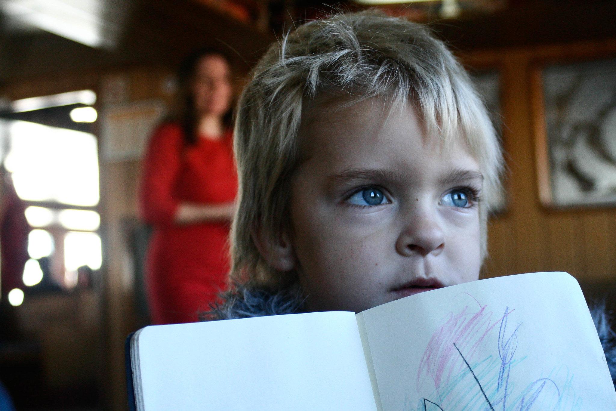 Anton on the vapur, proud of his art.