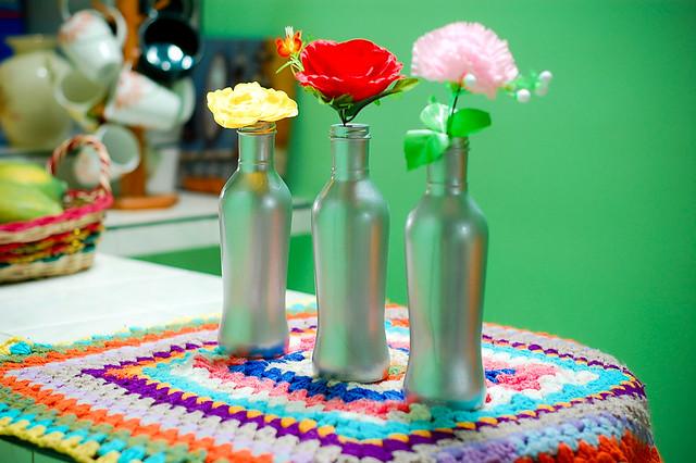 diy silver bottle flower vase