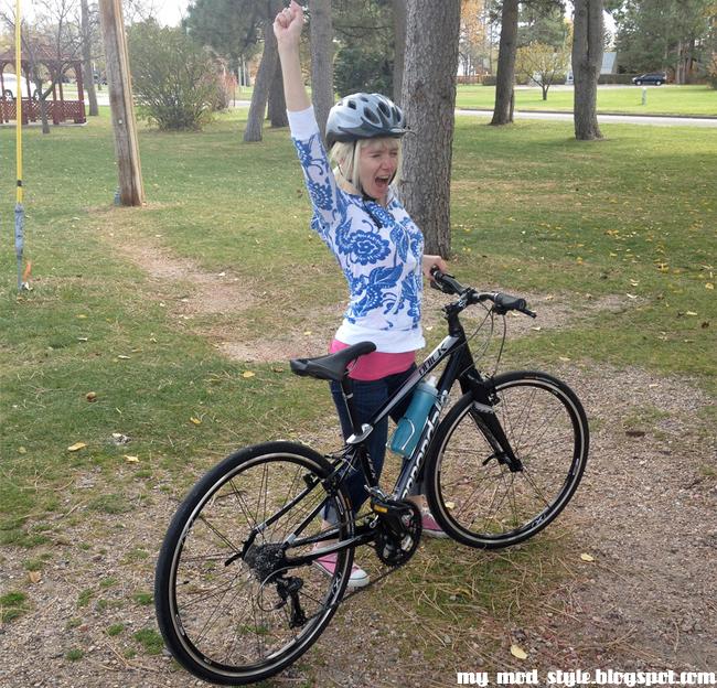Me cheering on bike