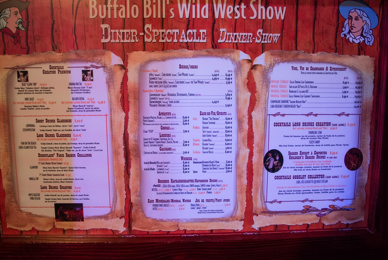 Buffalo Bill's Wild West Dinner Show Menu