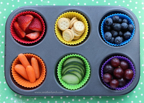 Muffin Tin Monday - rainbow of food for St. Patrick's Day