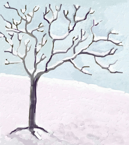 Snow and Tree (Digital Impasto) Day 2 by randubnick