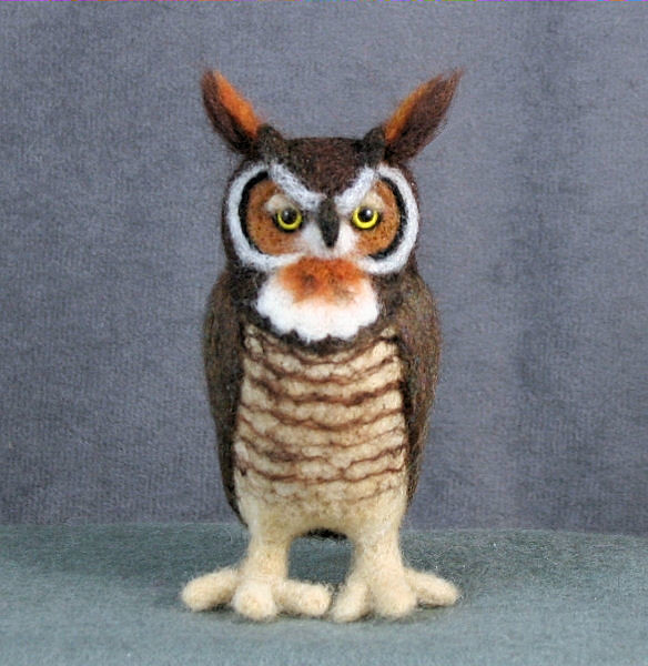 Needle Felted Great Horned Owl