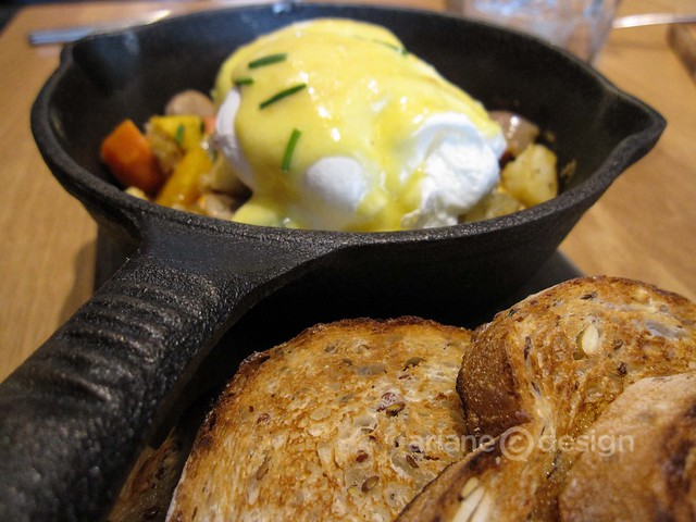Brunch at forage/Two Rivers turkey sausage hash, free-range eggs, roasted vegetables