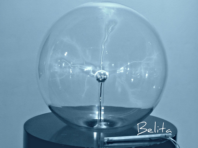 optical fibre in a glass globe