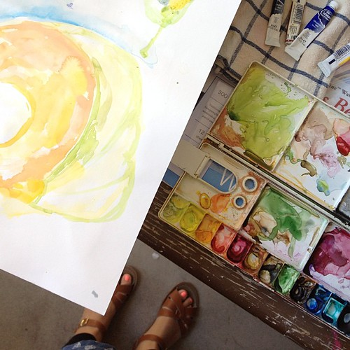 Teaching a Private watercolour class