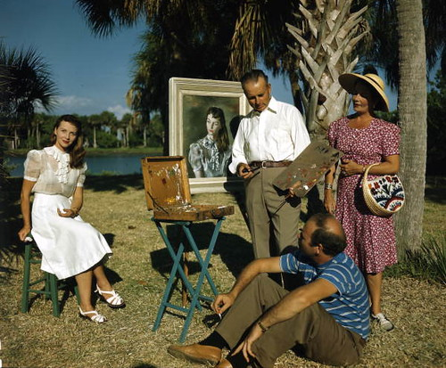 Jerry Farnsworth painting a portrait of Mrs. Ben Stahl: Sarasota, Florida