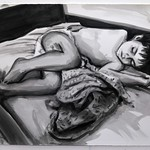 Sleeping Child I (b/w); acrylic on paper, 22 x 30 in, 1990