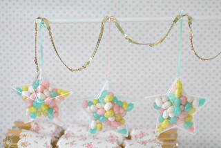 Jelly bean filled hanging stars