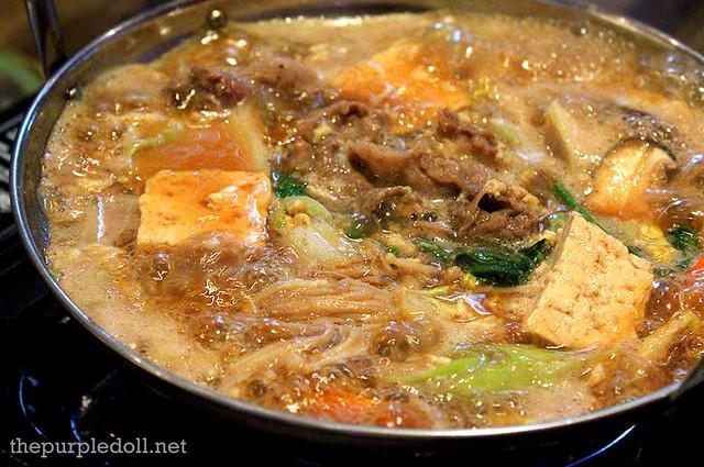 Beef Sukiyaki Cooked