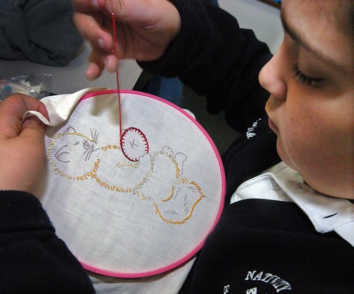 Embroidery Classes are part of Electives Week at the Nativity School