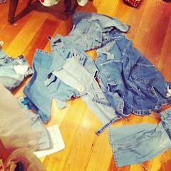 It's a denim war zone (or just a big mess on my studio floor!)