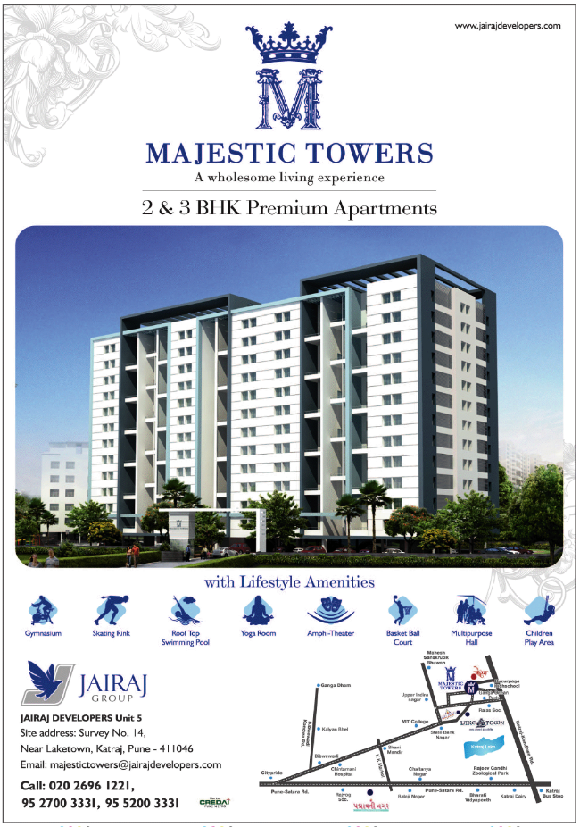 Majestic Towers 2 BHK 3 BHK Flats near Lake-Town Katraj Pune 411046