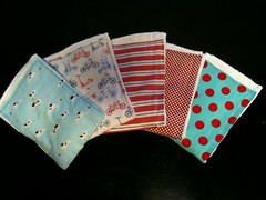 Blue & red burp cloths