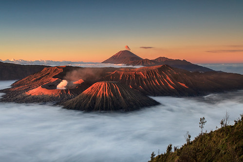travel sunrise indonesia landscape volcano java