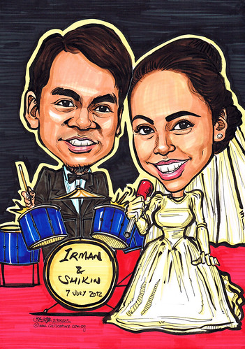 wedding couple caricatures at band concert