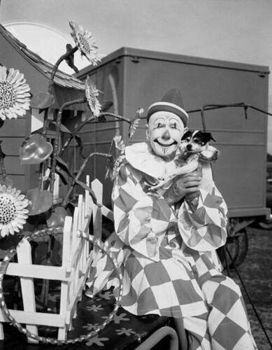 Ringling Circus clown Charlie Bell with his dog: Sarasota, Florida by State Library and Archives of Florida