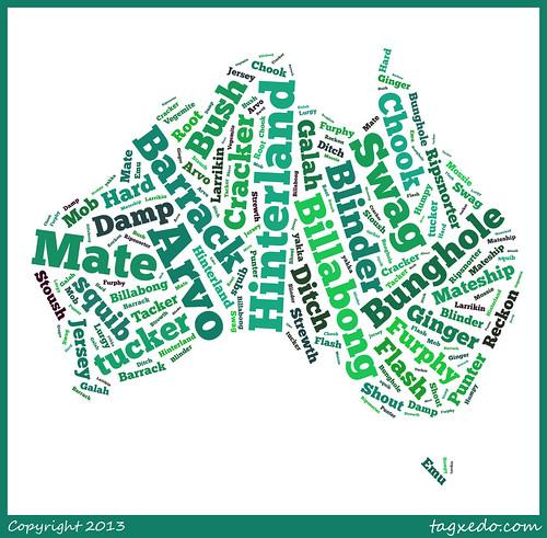 Australian Slang @tagxedo