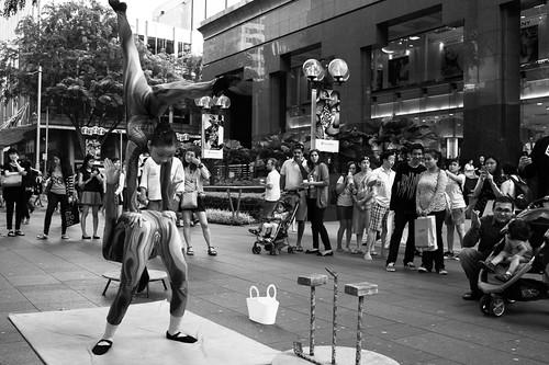 Street buskers outside Takashimaya, Orchard Road.