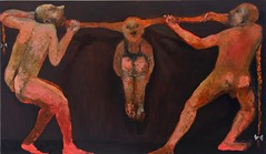 <strong>NIYAZ NAJAFOV | DANCING ON BONES - </strong> Pigtails<br />Oil on canvas, 114 x 195 cm, 2012