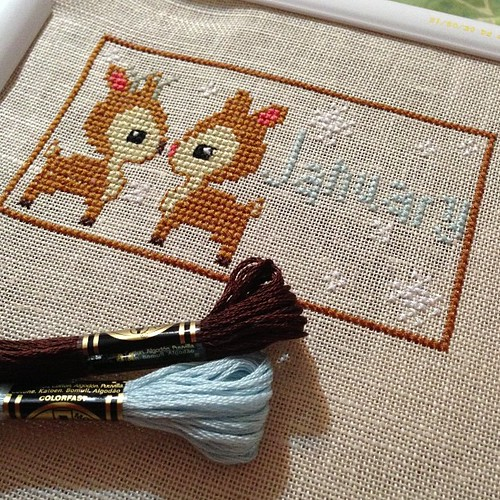 January is done! Adorable little deer couple! #woodlandsampler #thefrostedpumpkinstitchery#crossstitch