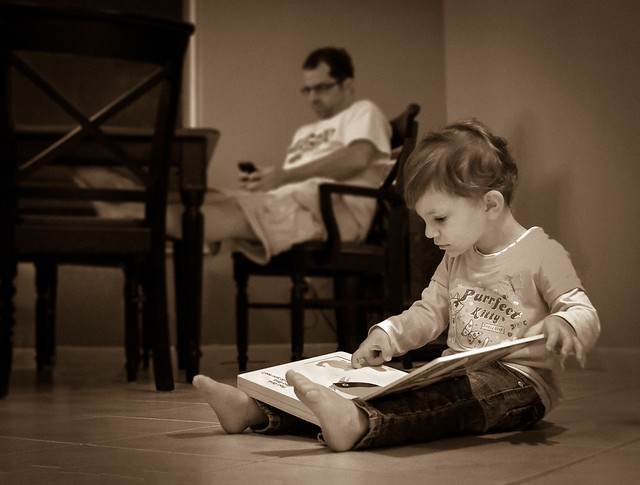 Child Reading, Child Portrait, iPhone, Sepia, Girl, Book, Father, Daughter