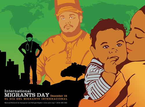 A Rodriguez poster for International Migrants Day. It features a male welder, a woman embracing a baby, and a silhouette of a doctor against a green background.