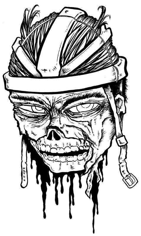 Matt Lolli zombie hairnet cyclist