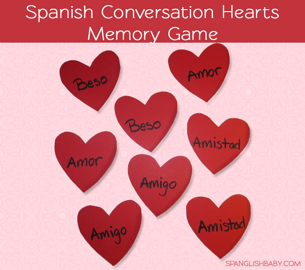 Spanish conversation hearts memory game - SpanglishBaby.com