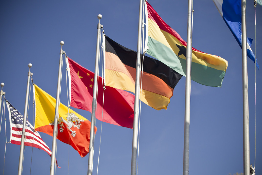 international flags on flag pole