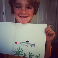 Our little artist - finishing up Captain Daddy's bday book #homeschool #learninglifestyle
