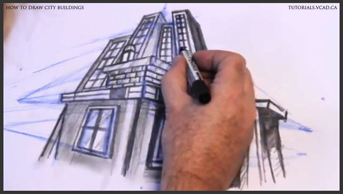 learn how to draw city buildings 037