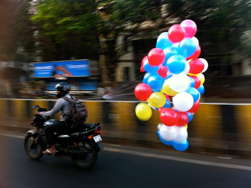 Balloon man going to work
