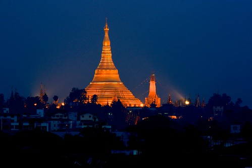 Shwedagon Pagoda glows at night in Yangon, Myanmar