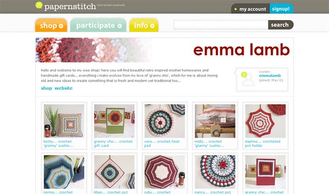 My shop front on Papernstitch... yay!