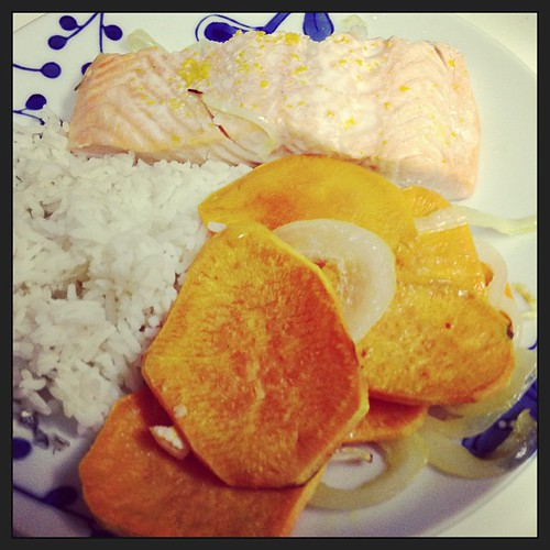 Roasted salmon and sweet potatoes. Csaforthree.com