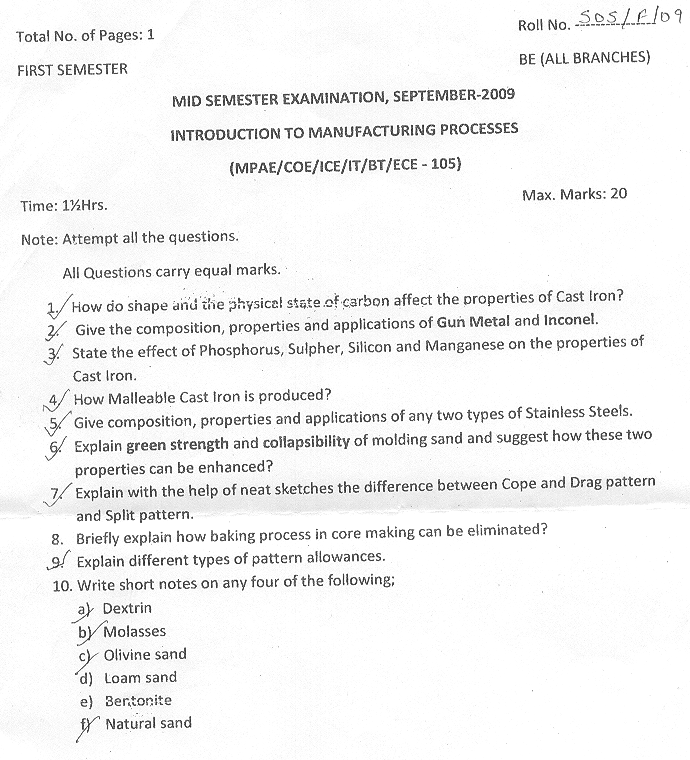 NSIT: Question Papers 2009 – 1 Semester - Mid Sem - MPAE-COE-ICE-IT-BT-ECE-105