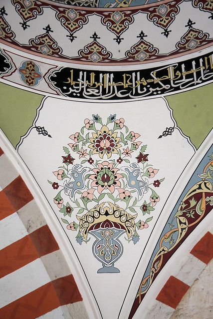 Detail of decoration paintings in Üç Şerefeli mosque, Edirne, Turkey エディルネ、ユチュ・シェレフェリ・モスクの装飾画