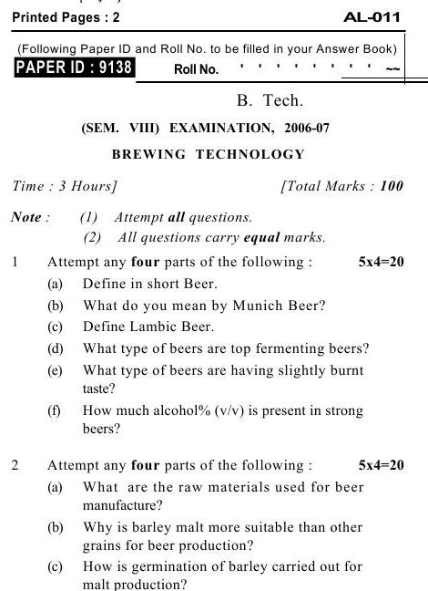 UPTU B.Tech Question Papers -AL-011- Brewing Technology